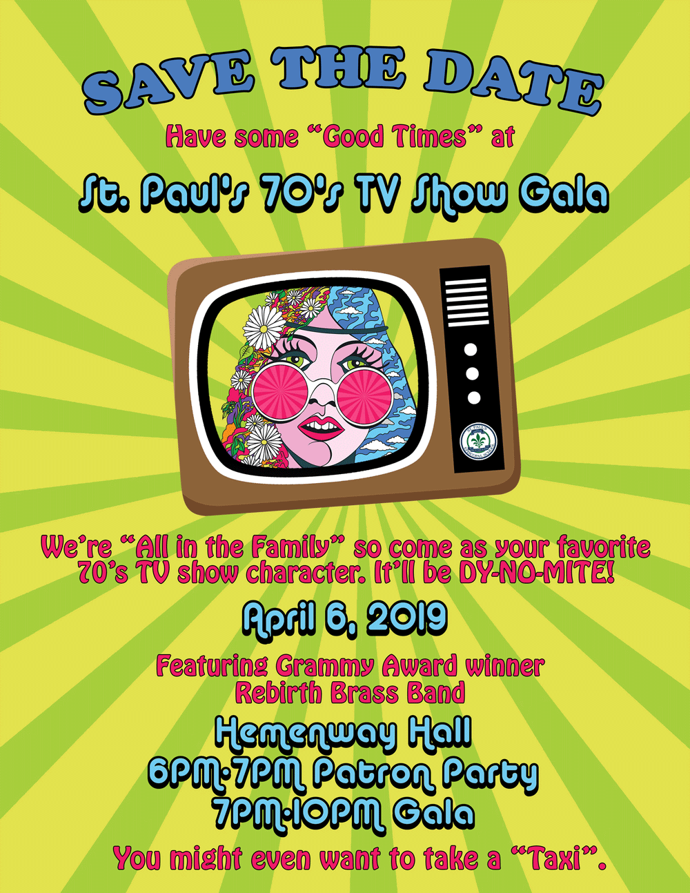 Save the Date St. Paul's 70s TV Show Gala April 6, 2019